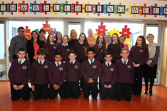 Pictured are Students from Loreto CS Milford who took part in Positive Mental Health week with their teachers Roisin Bn. Ní Riain, Anita Sweeney, Noel Scott, Lisa Fitzsimmons and Jacintha Edwards with facilitators Karen Duggan, Michaela McDaid and Aoife Valley.