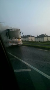 The bus catches fire. Pic by Donegal Daily.