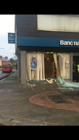 The damage caused to the bank this morning. Pic Donegal Daily