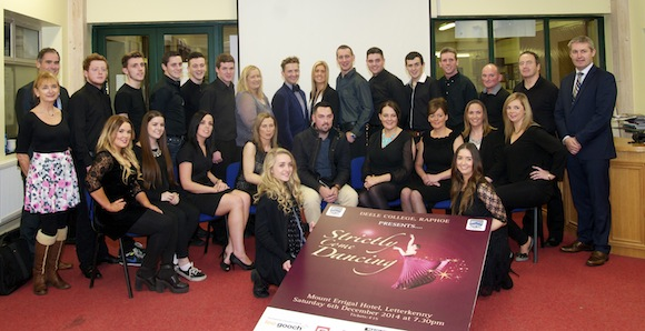 Darragh Kelly of Glebe Builders in Donegal Town who are the main sponsors of the Deele College Strictly Come Dancing on December 6th pictured with staff members who organised the event and dancers at the launch in the school on Monday night.