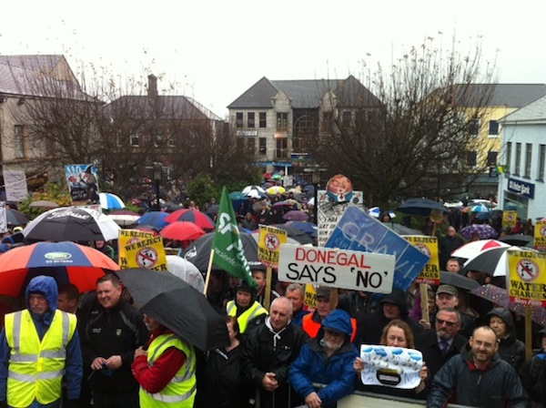 Part of the massive crowd of more than 7,000 at Market Square in Letterkenny. Pic by Donegal Daily.