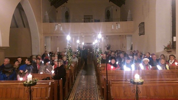 Those taking part in the carol service at the Cathedral Quarter in Letterkenny.