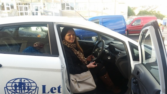 Emma is raring to go in her new motor.