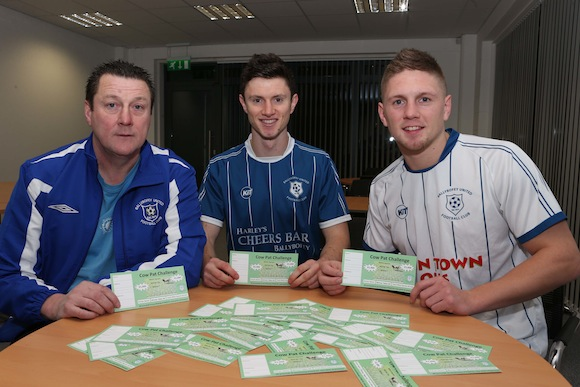 """Former Ballybofey United underage players Johnny Dunleavy and Jason Quigley, pictured with Paul """"Ollie"""" Doherty, were delighted to promote the club's COW PAT CHALLENGE which was officially launched on Wednesday NIGHT"""