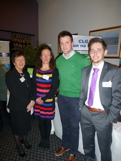 Michael Murphy meets members of the Donegal GAA Health & Wellness Committee. L to R: Marian McNulty, Dolores McWeeney, and Oisin Cannon
