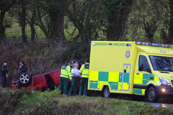 The scene of the accident this afternoon. Pic by North West Newspix.