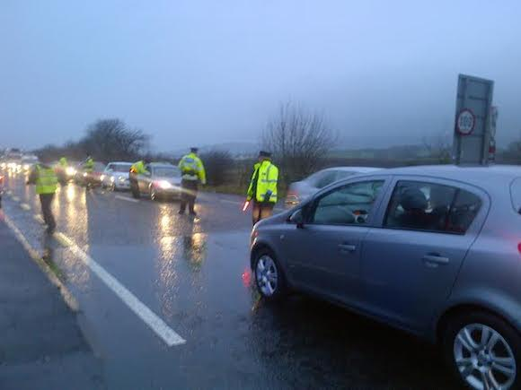 The joint checkpoint at Bridgend earlier today