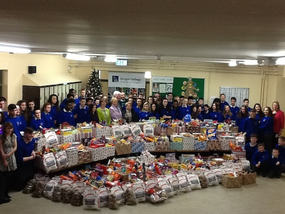 The stunning collection of hampers which were given to St Vincent de Paul.