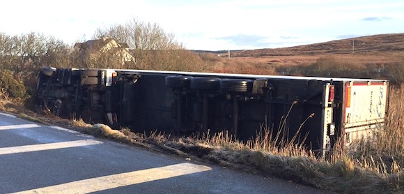 The lorry which went off the road in West Donegal this morning.