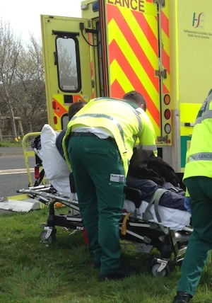 Seamus Duffy is taken into an ambulance after his suspected heart attack back in April.