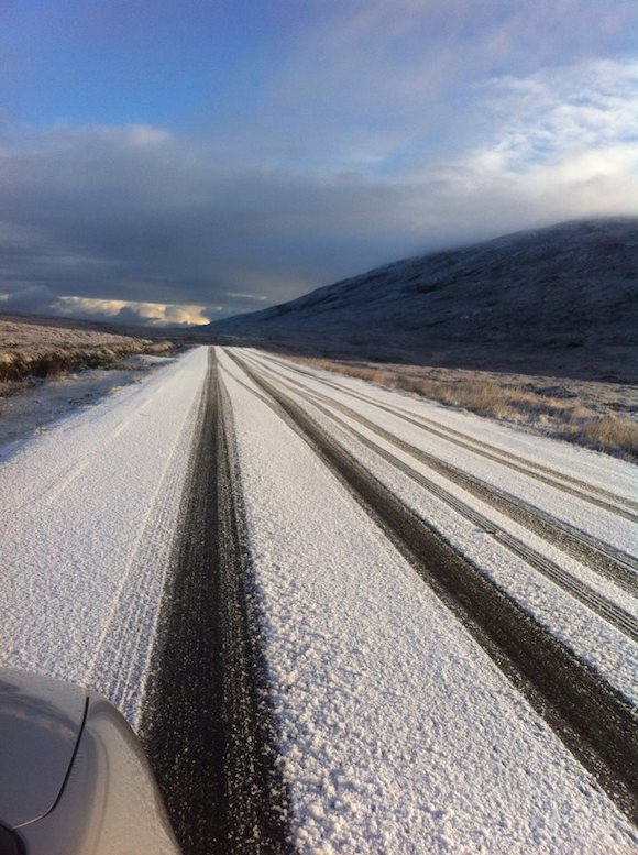 Snow on the back of Errigal Road today.Pic Brid Sweeney for DD