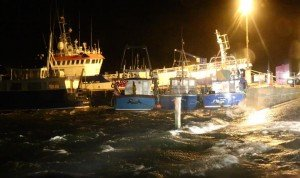 The boats in Burtonport Pier are taking a battering as Storm Rachel moves in across Donegal.