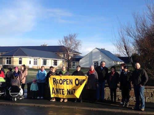 Protestors at Dungloe Community Hospital today.
