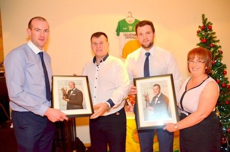 Neil Gallagher and Michael Murphy receiving a token for their great year with Donegal winning the Ulster championship and reaching the All Ireland Final presented by Club Secretary Sharon Mc Ginty and Paddy Mc Ginty.