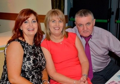 Mary Devine, with Hughie and Marie Mc Daid at the Glenswilly Dinner Dance.