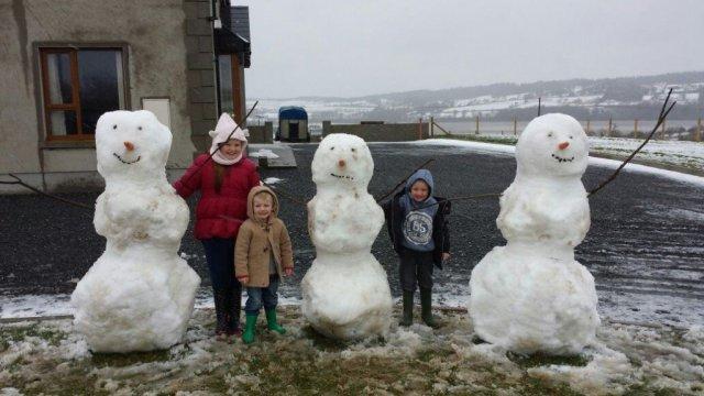 Hannah, Eddie and Harry McBride enjoying the snow in Castledoe in Creeslough.