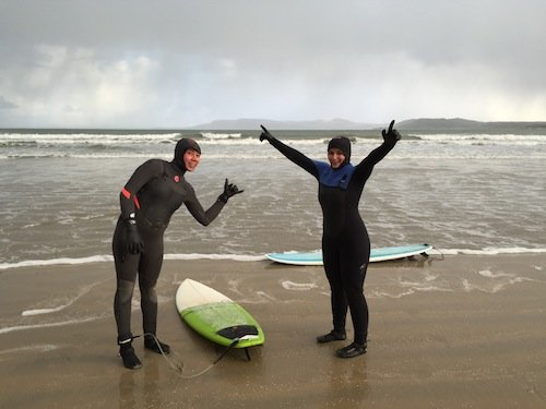 The brave pair get ready for their surf.