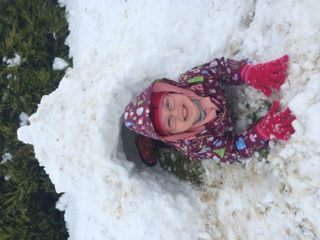 Emily Cannon CHILLS out her igloo. :)
