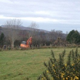 The scene of the incident in Glenswilly in which a man was shot in the face while using a digger.