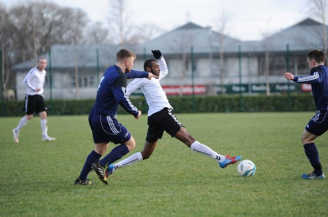 Letterkenny IT centre-forward Steve Emeka in action against CSN yesterday afternoon.