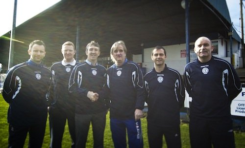CAPTION: New Finn Harps U17 manager Declan Boyle is welcomed by the Harps management team James Gallagher, William O'Conner, Ollie Horgan, Niall McGonagle and Trevor Scanlon. Photo by Ciaran McLochlainn.