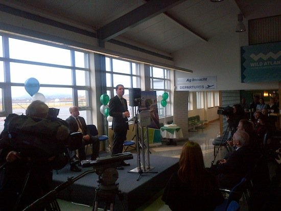 Minister Pascal Donoghue launches the Aer Lingus service this afternoon. PIc Donegal Daily.
