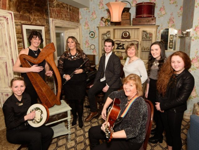 Bridgin Carr, Jason Friel, Trudy O'Donnell, Karen McBrearty, Celine Bradley, Catriona McIntyre, Kyra McBrearty and Laura Foody. Photo- Clive Wasson