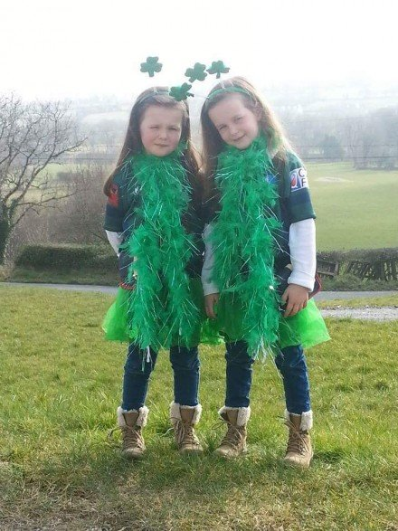 Grace and Alanah McGlynn from Ballybofey all set for the parade. :)