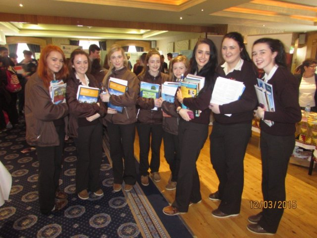 Some Loreto Convent, Letterkenny girls posing for the camera at the careers fair