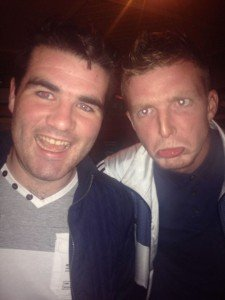 Diego Costa doppelganger Conor Greene 9left) pictured with teammate Chris Greene.