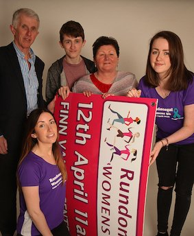 Family of the late Brid Carr who made the journey home from London this weekend to give a helping hand to promote the forthcoming Run Donegal Women's 5k. included are daughters Christine and Anna, husband Seamus, son Tom and sister Rosemary Foy. Photo Cristeph/Brian McDaid
