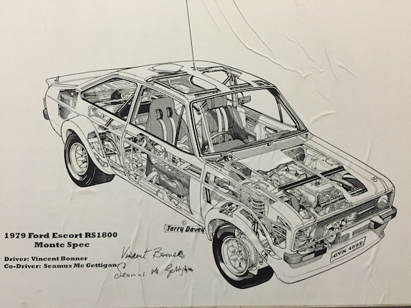 A cut away drawing of the original Ford works RS1800 Escort , With a bit of luck and support , double winner of the Donegal Rally, James Cullen will behind the wheel of an Escort for this year's Donegal Rally.