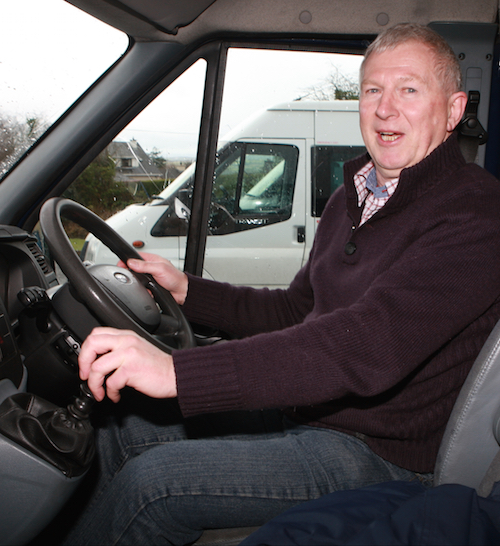 James Cullen, at the wheel of his Ford Transit minibus, and if his fans have their way they hope to have him behind the wheel of a Mark2 Escort for this years Donegal Rally, 25 years after he 1st win the event. Photo Brian McDaid
