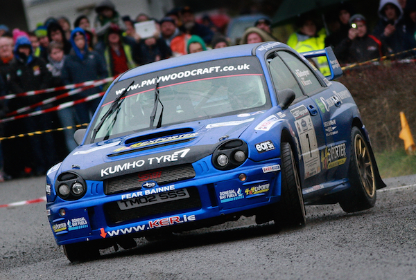 Declan Gallagher and Ryan Moore push hard before their big off in Galway rally. Photo Brian McDaid