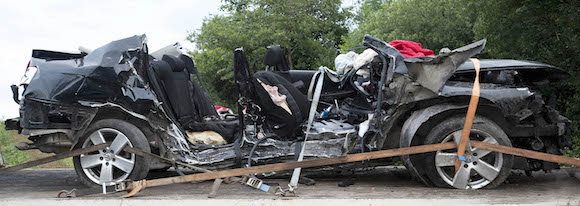 The remains of the Volkswagen Passat in which seven young people died. PIC. Newspix