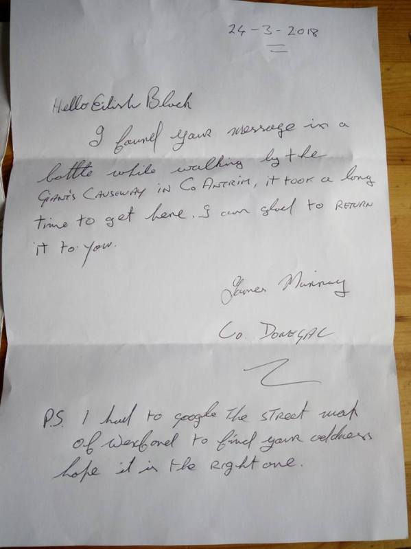 Donegal Message in a Bottle Mystery - Response from James Murray, finder of Eilish's message in a bottle.