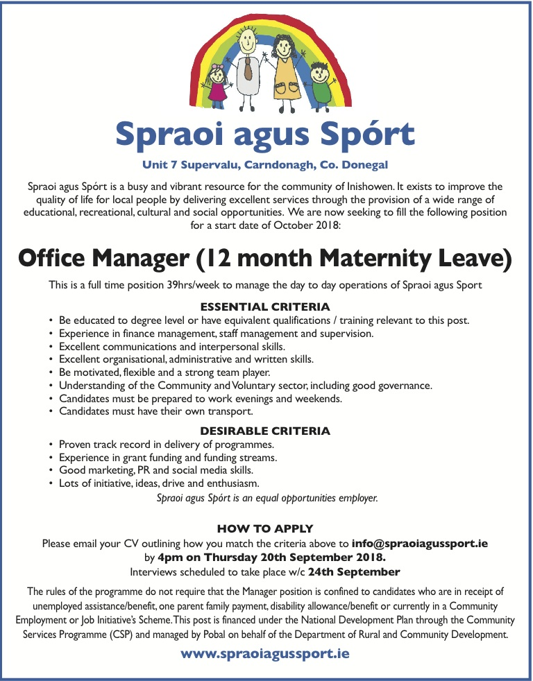 Job Vacancies: Project Manager and Office Manager sought for