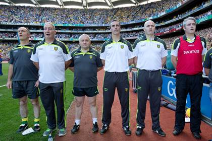 Donegal Donegal's selectors, Damien Diver, Donal Reid, Pat Shovelin, coach Jim McGuinness, selector Paul McGonigle and Dr Charlie McManus Mandatory Credit ©INPHO/Morgan Treacy