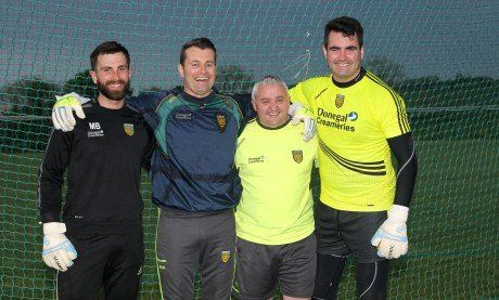 Pat Shovelin with Michael Boyle, Shay Given and Paul Durcan at a training session in 2014.