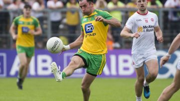 Karl Lacey sets up a second half attack during Sunday's semi final. Photo Evan Logan