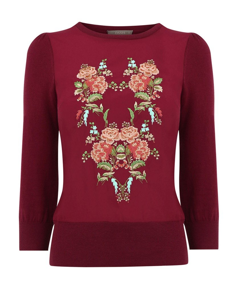 Oasis Embroidered Flower Knit €52