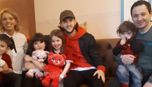 Football hero's hospital visit is a wish come true for Mikaela Breen