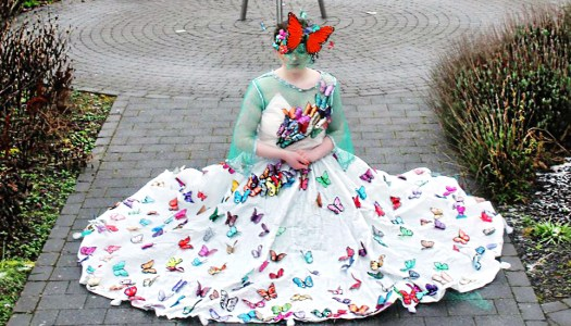 Stylish sisters hoping butterfly dress will take wing