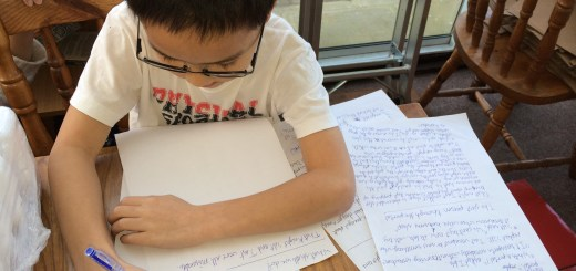 Minh Duy writing his story on mutant hampsters