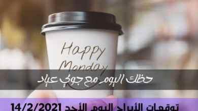 حظ الأبراج اليوم الأحد 14-2-2021 | جوي عياد وحظك اليوم 14 صفر/شباط