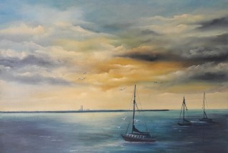 As evening falls in Dun Laoghaire 50x70cms Oil on block Canvas