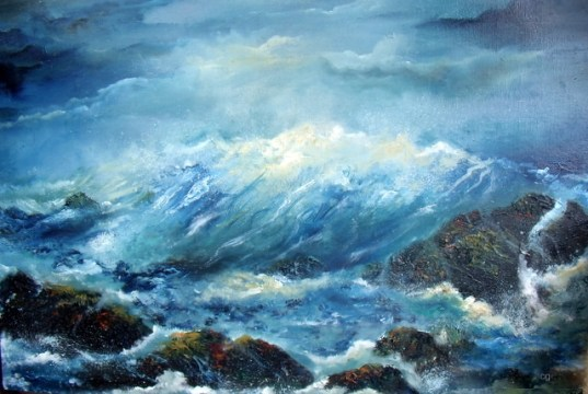 "Atlantic Crash - 23 x 15"" Oil on board © Donna McGee"