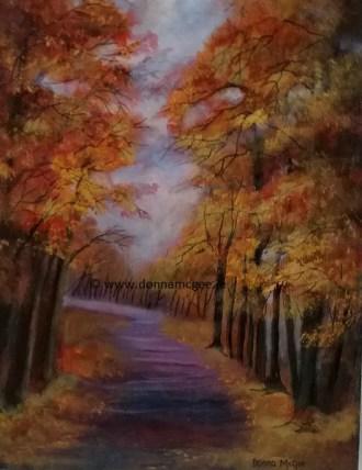 Autumn Walk - Oil on Canvas 14 x 18 inches