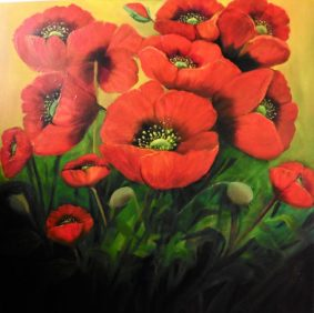 iRISH LANDSCAPSE ART Garden Poppies 28 x 28 inches Oil painting