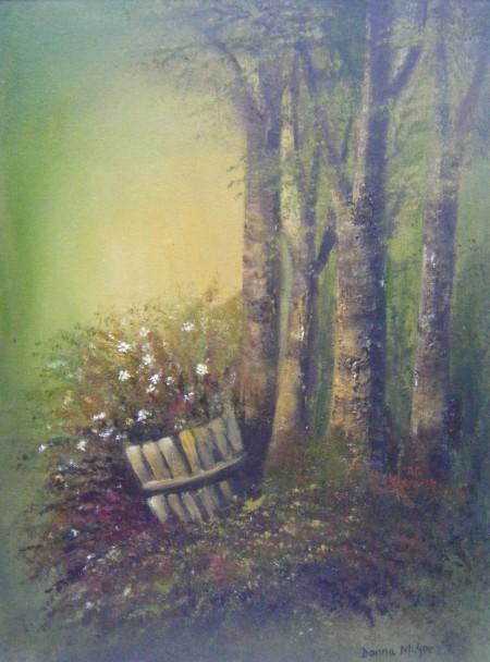 sunlight through trees, barrell of flowers, fantasy